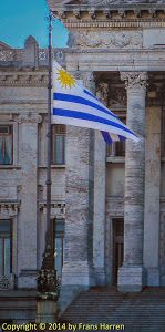 National flag of Uruguay in front of the parliament ~ Frans Harren Photography