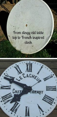 My Sweet Savannah: ~thrifty Thursday~ {French clock} Big Clocks, Large Clock, Wall Clocks, Do It Yourself Furniture, Diy Furniture, Make A Clock, French Clock, Outdoor Clock, Wall Watch
