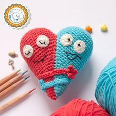 -Doble corazón patrón ganchillo patrón amigurumi patrón, decoración del día de San Valentín, pdf descarga instantánea