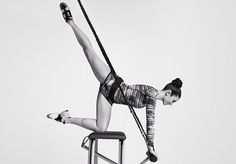 ChaiseFitness   NY  Rachel Piskins' Reinvention Method combines ballet, aerobics, and Pilates. Pilates chair with bungee system.