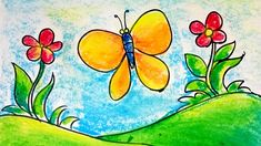Drawing Pictures For Kids, Scenery Drawing For Kids, Easy Drawings For Kids, Flower Art Drawing, Doodle Art Drawing, Butterfly Drawing, Oil Pastel Colours, Oil Pastel Art, Oil Pastel Drawings Easy