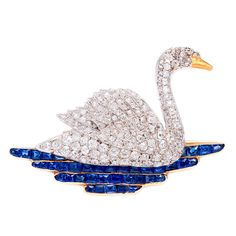 1920s Diamond Swan Brooch | From a unique collection of vintage brooches at http://www.1stdibs.com/jewelry/brooches/brooches/