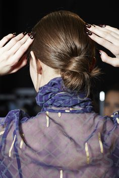 Bianca Tuovi played with the individual beauty of each girl at Zandra Rhodes AW16 - some models drifted down the runway with tonged, brushed-out, fluffy texture, whilst others adopted an elegant bun.