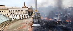 Before and after image of Independence Square in Kiev, Ukraine to put into perspective the scale of devastation that has occurred by Gabe Lorden. Kiev Ukraine, Russia Ukraine, Die A, Put Things Into Perspective, Montage Photo, Iconic Photos, Show Photos, Photojournalism, Awesome