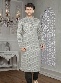 Gray shantoon churidar kurta pajama for men C15209