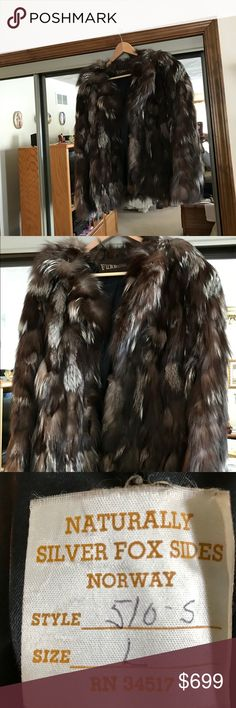 Silver Fox Coat. Retro Naturally Silver Fox Sides Coat. Size Large. Made in Norway. RN 34517.  Like New. Jackets & Coats