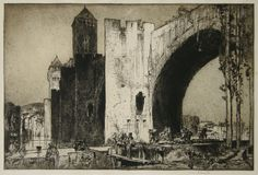 Frank Brangwyn (British, The Valentré Bridge, Cahors, Etching on wove paper, Classic Paintings, British Artist, Illustrator Artists, Art Painting, Landscape Paintings, Cool Artwork, Architectural Sketch, Woodcut, Landscape Art