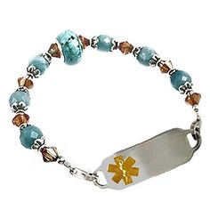 """Medical ID Alert Beaded Brazillian Sky Bracelet, FREE Engraving, Sizes 6.75"""" to 9.5"""" from Creative Medical ID"""