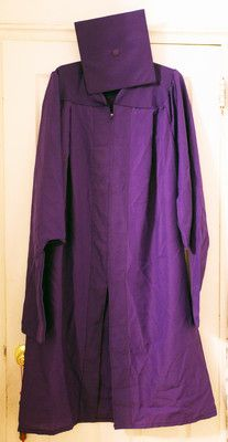 Master's Degree graduation cap and gown, with 1 bid at 1 cent.