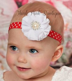 Baby Headbands Baby headband Valentines Headband por ThinkPinkBows