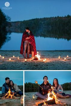 engagement photos campfire, candles and s'mores  | Tracey Buyce Photography  #engagementphotography