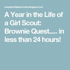 A Year in the Life of a Girl Scout: Brownie Quest..... in less than 24 hours!