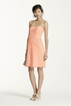 Short Strapless All Over Lace Bridesmaid Dress