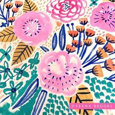 Draw Flower Patterns Goache floral painting by Feena Brooks - Textiles, Textile Patterns, Flower Patterns, Print Patterns, Gouache, Plant Drawing, Pattern Illustration, Illustration Flower, Floral Illustrations