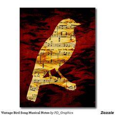 Vintage Bird Song Musical Notes Postcard