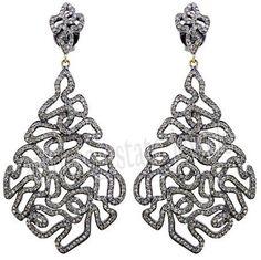 27.70cts ROSE CUT DIAMOND .925 STERLING SILVER DANGLER EARRING #artdeco_estate_jewels