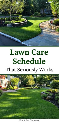 Follow this lawn care schedule for beautiful green grass without lawn weeds.  This lawn program uses only 3 products and also uses organic lawn fertilizer. #lawncaretips Organic Lawn Fertilizer, Grass Fertilizer, Organic Farming, Lawn Care Schedule, Lawn Care Tips, Lawn Fertilizer Schedule, Lawn Care Business Cards, Gardens, Program Management