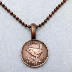 Coin Jewelry - Vintage British WREN BIRD necklace - English - Wren jewelry - bird necklace - bird jewelry - coin necklace by FindsAndFarthings on Etsy https://www.etsy.com/listing/192982515/coin-jewelry-vintage-british-wren-bird