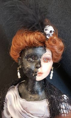Two faced is going to the Halloween ball - Mandeep Madden Dolls Porcelain Doll Makeup, Porcelain Dolls Value, Porcelain Dolls For Sale, Porcelain Jewelry, Porcelain Vase, Fine Porcelain, Painted Porcelain, Hand Painted, Scary Baby Dolls
