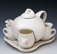 Modern Pottery  Puzzle Tea Pot and Cups by VintageGirl1955 on Etsy