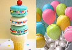 colorful balloon macarons + ice cream cone
