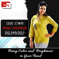 Try all new bright shades with colored fabrics to bring a cool touch to your casual wear.