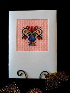 Art Nouveau Flower Basket Card Cross Stitch by theelegantstitchery, $15.00