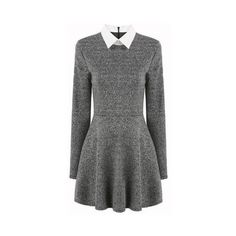 SheIn(sheinside) Grey Contrast Collar Long Sleeve Pleated Dress ❤ liked on Polyvore featuring dresses, grey dress, short a line dresses, grey long sleeve dress, short dresses and long sleeve skater dress