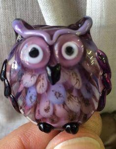 The Purple Owl - handcrafted Lampwork bead by Johan de Lange