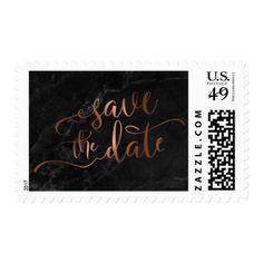 Copper Script & Black Marble Wedding Save the Date Postage - beautiful gift idea present diy cyo