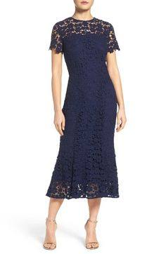 Shoshanna Guipure Lace Midi Dress available at #Nordstrom