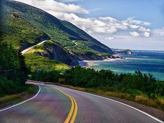 Cape Breton Island Cabot Trail -The route measures 298 km mi) in length and completes a loop around the northern tip of the island, passing along and through the scenic Cape Breton Highlands. Places To Travel, Places To Visit, Cabot Trail, East Coast Road Trip, Atlantic Canada, Motorcycle Travel, Cape Breton, Prince Edward Island, New Brunswick