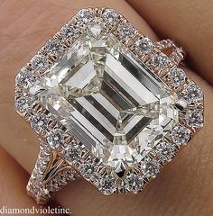 5.02ct Estate Vintage Emerald cut Diamond Halo Engagement