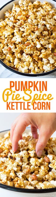 Pumpkin Pie Spice Kettle Corn Recipe - An easy festive party snack for fall! This kettle corn is one of the best popcorn recipes we've ever tasted. Perfect Pumpkin Pie, Pumpkin Pie Spice, Pumpkin Recipes, Fall Recipes, Pumpkin Foods, Pumpkin Pumpkin, Thanksgiving Recipes, Appetizer Recipes, Snack Recipes