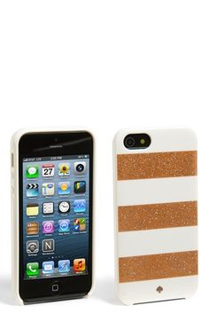 $40.00 rose gold & white - kate spade new york 'glitter jubilee' iPhone 5 & 5S case available at #Nordstrom