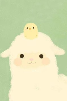 Kawaii llama and chick