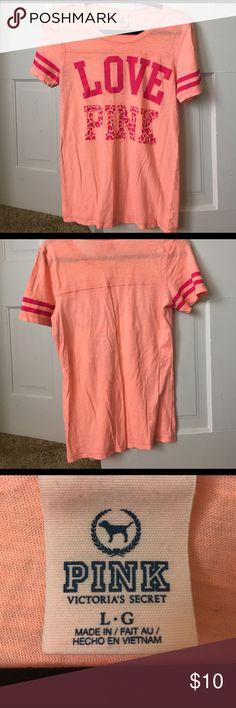 PINK (vs) workout shirt peach/ pink short sleeve PINK Victoria's Secret Tops Tees - Short Sleeve