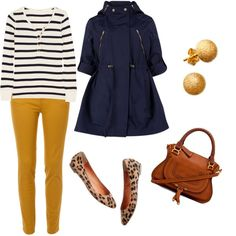 Mustard yellow pants. Navy blue raincoat. Leopoard print flats. created by yolandep on Polyvore