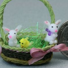 Make Tiny Fluffy Bunnies. These are shown in a 1:12 scale Easter basket.