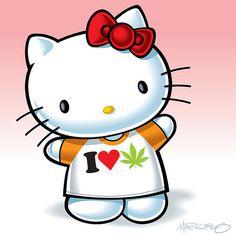 Now this Hello Kitty I like lol Hello Kitty Art, Hello Kitty Tattoos, Hello Kitty Items, Hello Kitty Imagenes, Hello Kitty Pictures, Kitty Images, Marijuana Art, Medical Cannabis, Weed Art