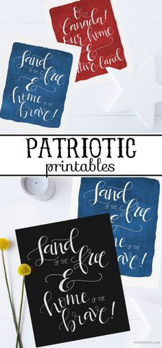 Patriotic Free Printables | Love these free patriotic prints! Free Canada prints, free USA printables! Perfect 4th of July home decor idea too!