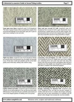 Saxon / Viking textiles from A historical re-enactors Guide to Saxon / Viking textiles PDF by Aidan Campbell http://www.aidan-campbell.co.uk/PDFs/guide%20to%20Dark%20Age%20Textiles.pdf Contrast twills? I thought those were rare in our period...
