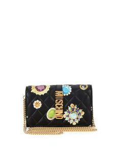 MOSCHINO Brooches-Print Quilted Wallet-On-Chain, Black. #moschino #bags #shoulder bags #wallet #accessories #