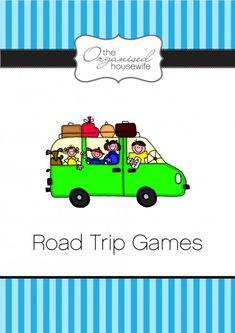 Aussie Road Trip Games, including sign bingo, logo bingo and a scavenger hunt