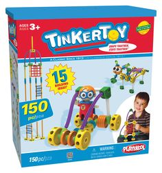 Tinkertoy Super Tink Building Set. Build a skyscraper, fighter jet, getaway car, or imagine your own heroic adventure!. 150 durable, plastic pieces including spools, rods, wings, eyes, Super Tink buildable figure AND new panel pieces!. 15 building ideas. Sturdy box with lid for storage and portability. Recommended for builders ages 3 and up.