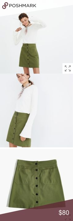 Station Mini Skirt Madewell 4 An easy A-line mini with details inspired by a '60s find: patch pockets and buttons all the way down the front. Try it with tights now, bare legs later—this skirt is a year-round deal.  Cotton/rayon.Machine wash.Import.ItemH7273.  True to size. I think this is the perfect A-line skirt for everyday looks. Sold out in almost all sizes. Madewell Skirts A-Line or Full