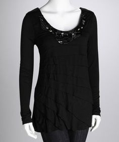 Take a look at this Rain Black Jewel Top by Rain on #zulily today!