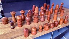 What an amazing collection of Dansk Teak Salt & Pepper mills by Jens Quistgaard!