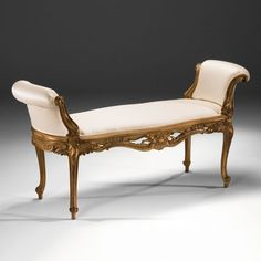 Decorative Crafts Carved Wood Pascano Bench 6819 is part of French furniture sofa - Late Baroque style carved beechwood bench with light walnut finish, antiqued goldleaf highlights and offwhite upholstery w x d x h Hand made in Italy Dream Furniture, Furniture Dolly, Steel Furniture, Rustic Furniture, Luxury Furniture, Cool Furniture, Furniture Design, Furniture Stores, Furniture Cleaning