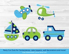Transportation Vehicles Car Truck Sailboat Airplane Cut Outs / Centerpiece / Cake Topper/ Party Decor / Printable INSTANT DOWNLOAD